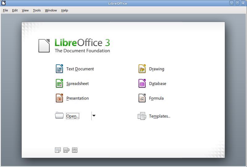 LibreOffice Welcomescreen